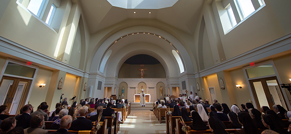 Inside the chapel during the blessing.